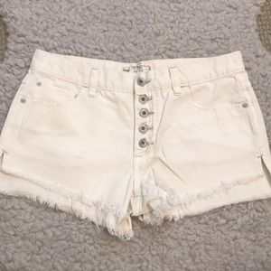 Free People - Button Fly White Jean Shorts